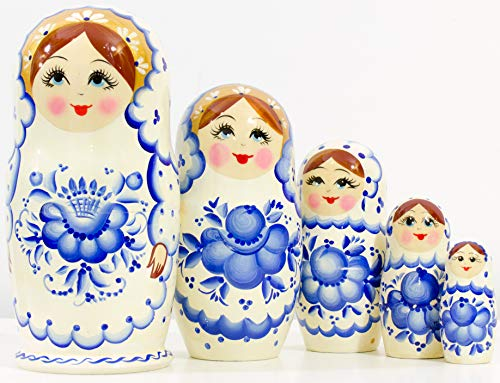 Nesting Doll - Russian Village - Hand Painted in Russia - Big Size - Wooden Decoration Gift Doll - Matryoshka Babushka (Style A, 6.75``(5 Dolls in 1))