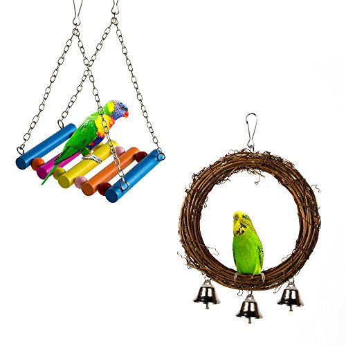 Pamagoo Bird Swings  Natural Rattan Pet Bird Cage Perch Toy   Wood Swing Stand Hanging Toy Hammock For Small Parakeets Cockatiels  Conures  Parrots  Love Birds  Finches  2 Pack