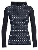 Icebreaker Merino Women's Oasis Long Sleeve Half Zip Hood, Align - Black/Snow, Medium