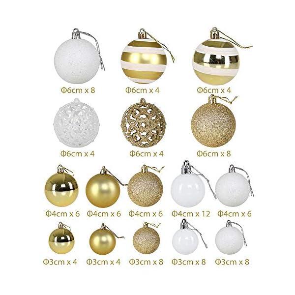 BAKAJI Confezione 100 Palline di Natale Diametro 3/4/6 cm Addobbi e Decorazioni per Albero di Natale (Bianco Oro) 6 spesavip