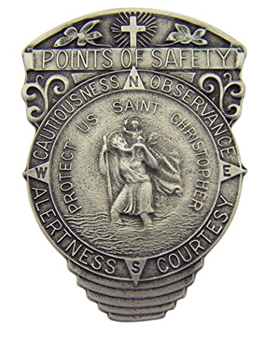 WJH Pewter Saint Christopher Points of Safety 4-Way Visor Clip, 2 1/2 Inch 4 Way Visor Clip