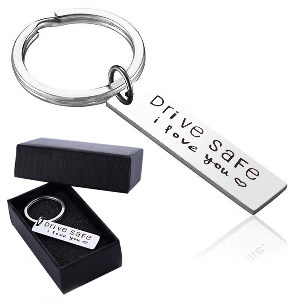 Drive Safe Keychain I Love You Keychains for Boyfriend,Trucker Husband,Dad  Stainless Steel Key Ring