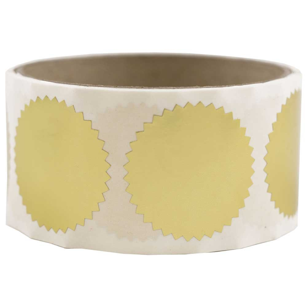 JAM PAPER Circle Label Wafer Seals with Serrated Edges - 1.5 Inch Diameter - Gold - 100/Pack