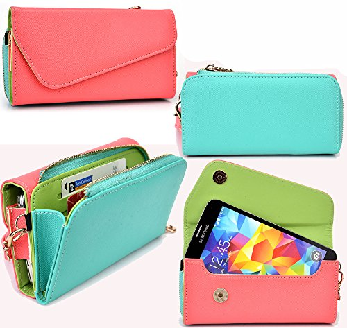 NuVur All in One Universal Wallet Clutch Smartphone Case Fits Apple iPhone 6, 6s, 7, 8|Coral/Mint
