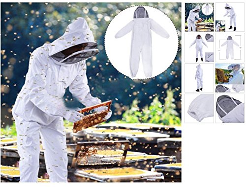 Quality Beekeeping Kits - Best Beekeeper Suits with Veil Hood - Professional Cotton Full Body Bee Keeper Costumes - New White Protective Equipment against Beehive - Suit for Honey Hive