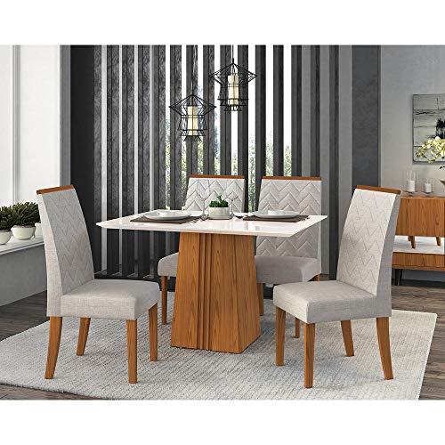Mesa de Jantar em MDF e MDP, 4 Cadeiras Aurea, Tecido Linho - Dj Moveis Italia