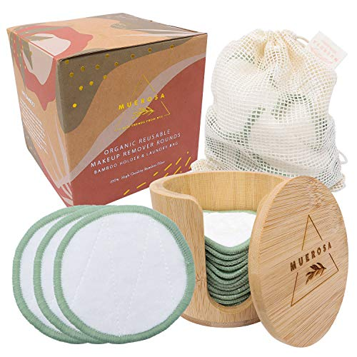 MUEROSA 14 pcs Reusable Bamboo Makeup Remover Pads | 100% Natural Bamboo Fiber Rounds | Soft Face Pads Facial Cleasing Skincare Set (14 Pads + Bamboo Holder + Laundry Bag, GREEN EDITION)