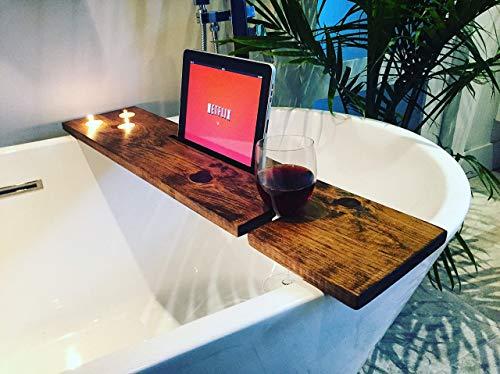 Bath tray Bath Caddy Bath Tub Tray + 3pcs tea light candles/Pine wood Stained Bath caddy, bathtub tray, bath tub caddy, tub tray, bathtub caddy, bathtub shelf from Rinö home decor