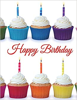 happy birthday large print address book cute cupcake themed