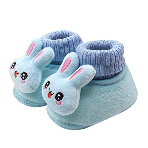 Tenworld Toddler Infant Baby Cartoon Rabbit Shoes Soft Sole Winter Booties (14, Blue)