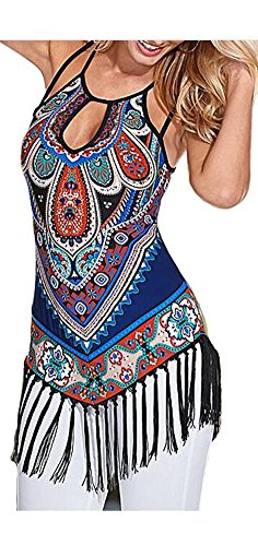 ETCYY Women's Summer Printed Vest Strap Camisole Casual Tassels Tank Tops, XX-Large, muti-color muti-color XX-Large