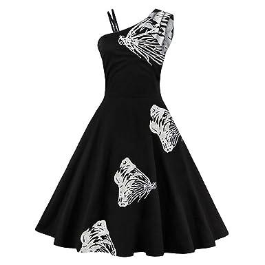 Xaviera Vintage Otoño Vestido Negro de Un Hombro Vestido bordado 1950 s Estilo White XXXL