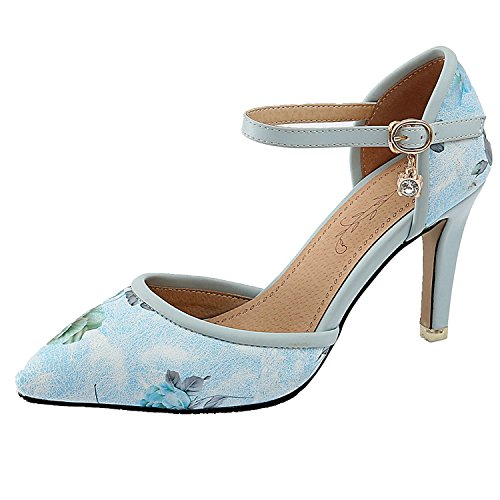 Heel Ankle Strap Toe Pump Fashion Women's Shoes High Blue KingRover Sexy Dress Pointed H0YqT6w