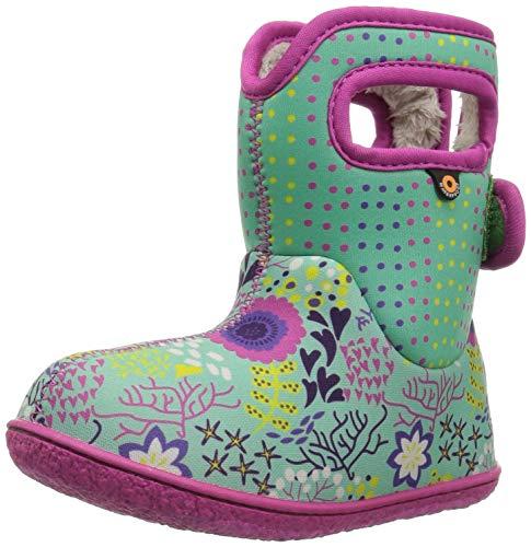 Girl Dot Flower - Bogs Baby Snow Boot New Flower dot Mint Green/Multi 5 Medium US Toddler