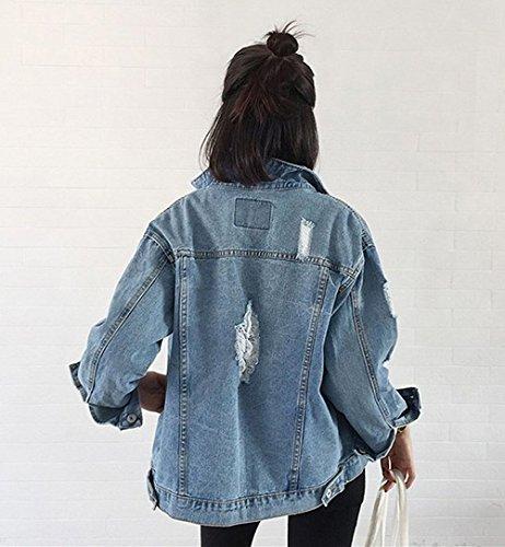 Strappati Boyfriend Blu Cowboy Jeans Giacca Elegante Lunga Sciolto Casuale Classica Giubbino Unisex Bolero Manica Donna Blazer Ragazza Giubbotto TUwqT8v