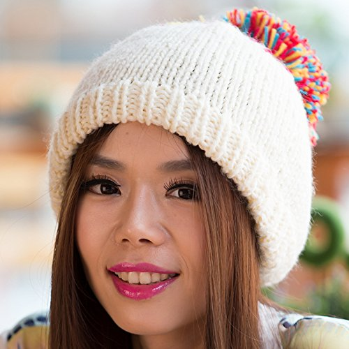 de otoño Lana Grueso Lana versión Coreana Color WHITE Maozi Invierno White Gorra Larga de Tejido Sombrero tTzqEt0xw