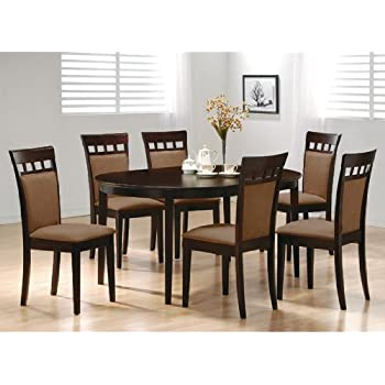 7pc Contemporary Cappuccino Finish Solid Wood Dining Table Chairs Set Oval  sc 1 st  Amazon.com & Amazon.com - Ashley Furniture Signature Design - Mallenton ...