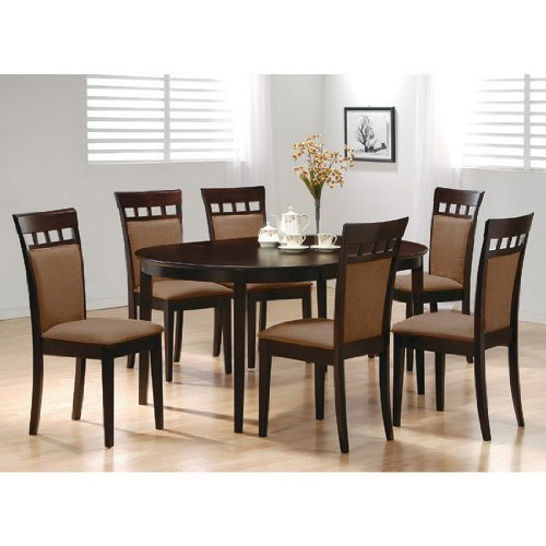 7pc Contemporary Cappuccino Finish Solid Wood Dining Table Chairs Set Oval by LIFE Home