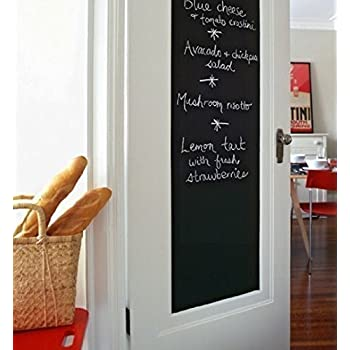 Fancy-fix Halloween Gift Blackboard Vinyl Peel and Stick Self Adhesive Chalkboard Wall Sticker with 5 Chalks- Big Roll 17.7 By 78.7 Inches
