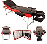 Merax Aluminium 3 Section Portable Folding Massage Table Facial SPA Tattoo Bed (BlackRed)