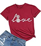 Love Letter Top Women Pineapple Shirt Letter Print Short Sleeve Crewneck T Shirt Size XL (Red)