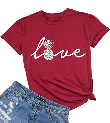 JINTING Pineapple Graphic Tee Shirts for Women Teen Girls Letter Print Cute Tee Shirts with Sayings Red
