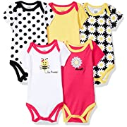 Luvable Friends Baby Infant 5 Pack Bodysuits, Bee, 12M(9-12 Months)