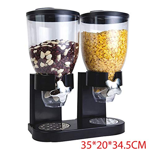 Double Cereal Dispenser Kitchen Dry Food Container with Clear Double Canister & Fresh Air Tight - Keeps Food Fresh/Great for Portion Control (Black)