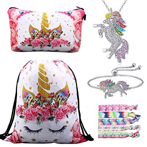 RLGPBON Unicorn Gifts for Girls 5 Pack Drawstring Backpack/Makeup Bag/Unicorn Pendant Necklace/Bracelet/Hair Ties