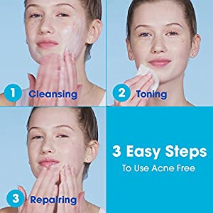 AcneFree 3 Step Acne Treatment Kit - Salicylic Acid Acne Face Wash and Alcohol-Free Toner with Benzoyl Peroxide Lotion - Anti Acne Solution for Teenagers and Adults - For Sensitive Skin