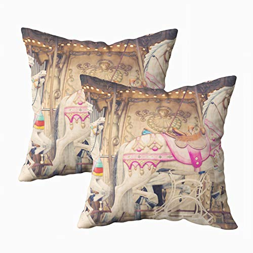 Anucky Pillow Covers,Throw Pillow Cases, French Background Carousel Horses for Your Home Printed with Fashion Pattern Soft Case for Bedroom 18x18Inch 2Pack Decorative Pillow Covers