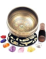 Juego de cuencos tibetanos con 7 piedras de chakra, cuenco de sonido, fácil para meditación, yoga y curación
