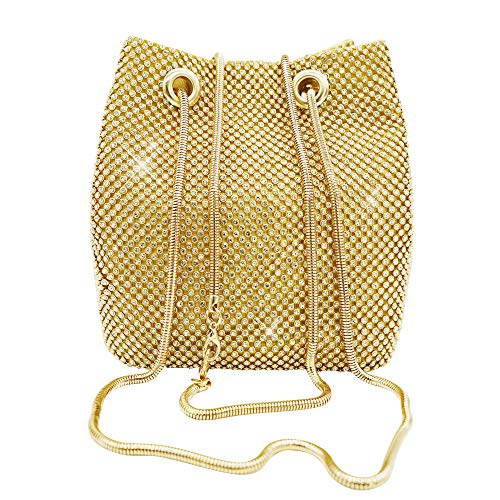 Women's Gold Evening Bag- Full Rhinestones Bling Mini Bucket Crossbody Shoulder Bag Handbag for Party Wedding Date Night