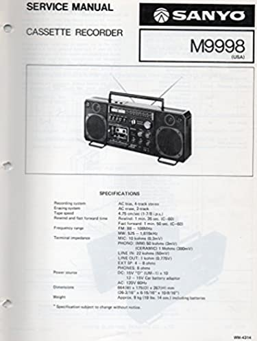 service manual for sanyo m9998 cassette recorder sanyo electric inc rh amazon com Golf Pull Carts Yamaha Golf Cart Manual