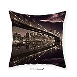 VROSELV Custom Cotton Linen Pillowcase Apartment Decor Brooklyn Bridge Sunset New York Manhattan Skyline Tourist Attraction Modern City Picture Bedroom Living Room Dorm Decor Brown 20''x20''