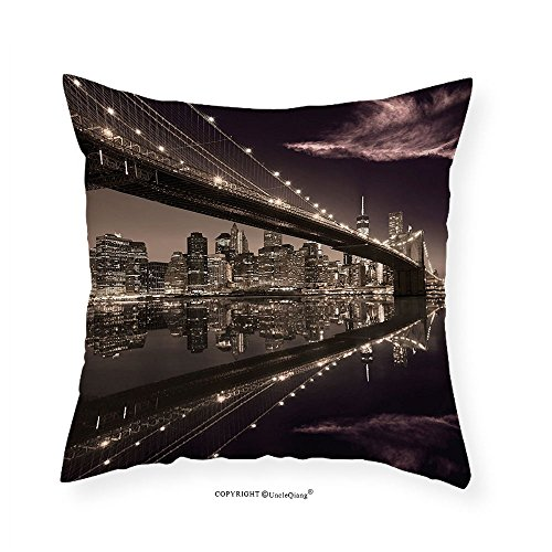 VROSELV Custom Cotton Linen Pillowcase Apartment Decor Brooklyn Bridge Sunset New York Manhattan Skyline Tourist Attraction Modern City Picture Bedroom Living Room Dorm Decor Brown 24''x24'' by VROSELV