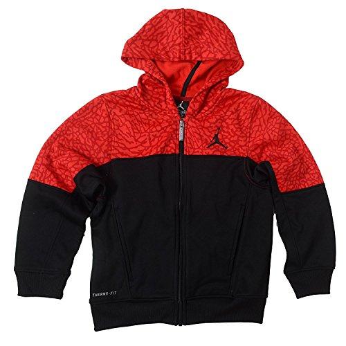 Nike Big Boys Jordan Therma-Fit Full Zip Hoodie (Small, Black / Red)