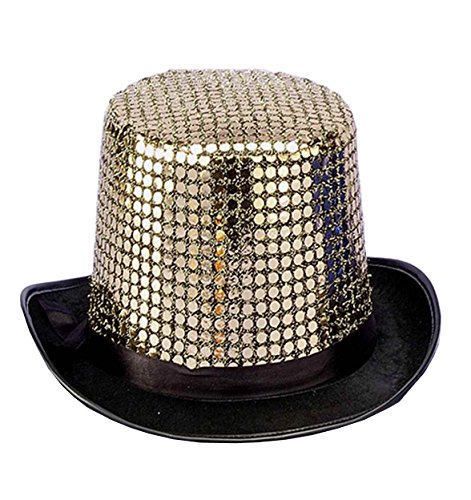 (Forum Novelties Men's Sequin Novelty Top Hat, Gold, One Size )