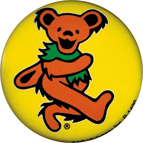 Yellow Dancing Bear (Grateful Dead - Unisex-AdultGrateful Dead - Orange Dancing Bear Button Yellow)