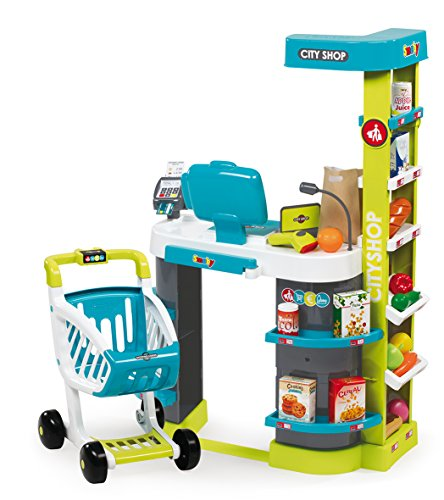 Smoby Smoby Roleplay City Shop with 41 accessories and Electronic Cash Register, 34-Inch, Green Playset