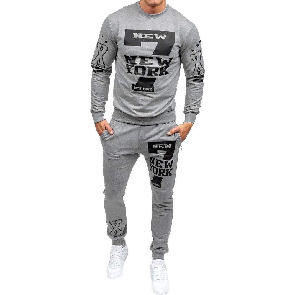 iMakcc Men's Autumn Winter Casual Printed Sweatshirt Top Pants Sets Sports Suit Tracksuit