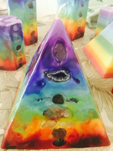 Hippie Dippies Crystal Candles : 7 Layer Tie Dyed Crystal Chakra Pyramid Candle Inlaid with Crystals & Gemstones That correspond to Each Chakra Point & Illuminate When lit