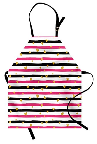 Lunarable Valentines Day Apron, Romantic Teenager Love Sign Hearts on Grunge Stripes Lines, Unisex Kitchen Bib with Adjustable Neck for Cooking Gardening, Adult Size, Hot Pink Black and White