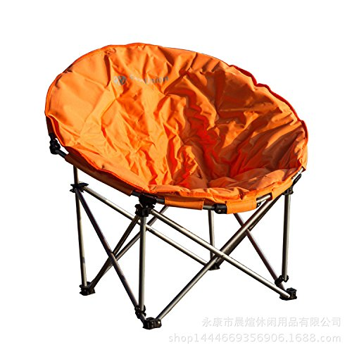 ZDY-Folding beach chair outdoor stainless steel portable beach chair portable fishing chair outdoor Moon chair more comfortable,orange (Outdoor Moon Chairs Adults)