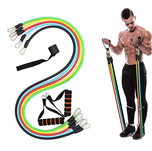 LEILUO Resistance Bands Set 5 Pcs Workout Bands with Door Anchor Handles and Ankle Straps Stackable Up to 100 lbs Exercise Bands for Resistance Training Physical Therapy Home Workouts