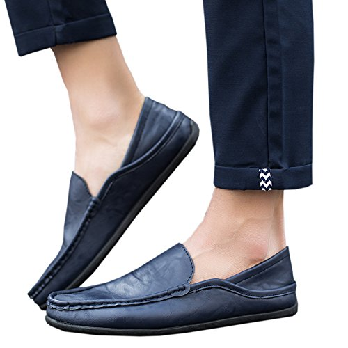 Haodasi Men's Casual Leather Loafers Driving Slip On Moccasins Shoes Slippers Blue 2 PqqnK