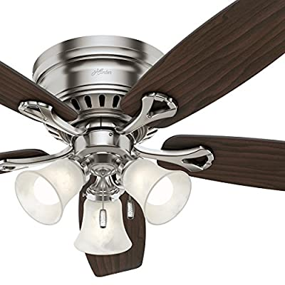 """Hunter 52"""" Brushed Nickel Finish Casual Ceiling Fan with Light Kit (Certified Refurbished)"""