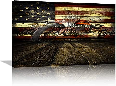 Large Motorcycle Art Retro Motorcycle