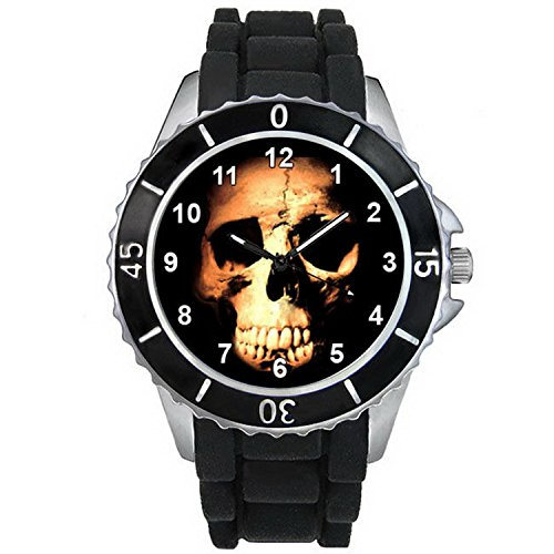 BMSC035 Evil Skull Halloween Mens Ladies Black Jelly Silicone Strap Wrist Watch