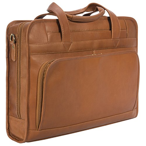 Muiska Leather [Custom Initials Engraving] 17'' Laptop Computer Dual Handle Top Zippered Double Compartment Slim Professional Briefcase Bag, Saddle by Muiska